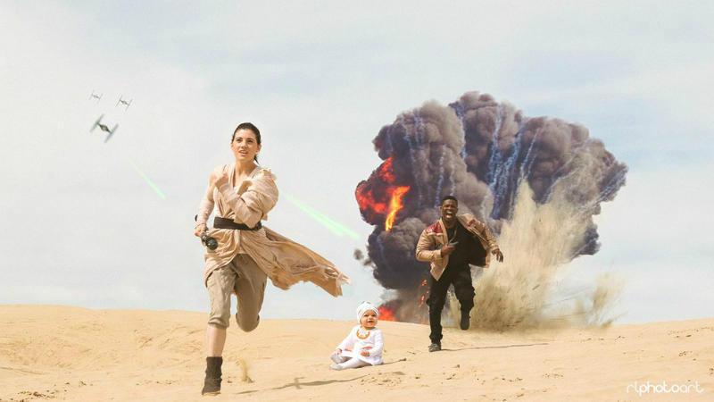 Rey, Finn y B88 en el desierto