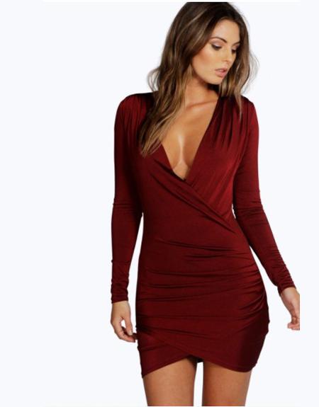 vestido drapeado boohoo